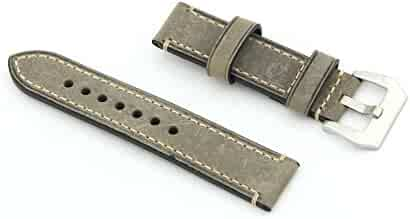 Owfeel Greyish-green Leather Watch Band Strap Replacement Watch Belt 24mm