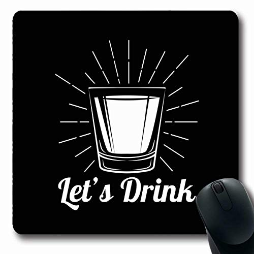 Tobesonne Mousepads Highball Gray Shot Whiskey Drinking Glass Alcohol White Food Black Drink Vintage Drunk Label Rum Oblong Shape 7.9 x 9.5 Inches Non-Slip Gaming Mouse Pad Rubber Oblong Mat
