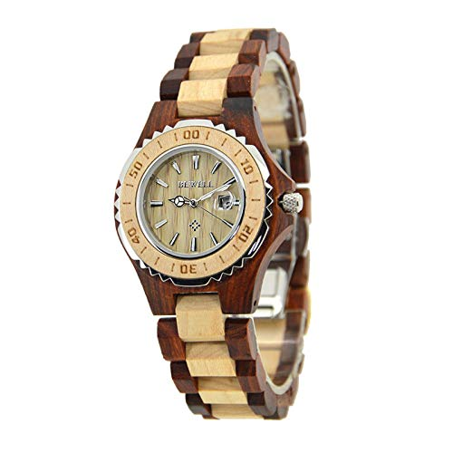 Tiger Woods Ladies Watch (China Women Wooden And Wood Ladies Quartz Watch With Waterproof Date Display Small Wristwatch 100Bl Red and Maple)