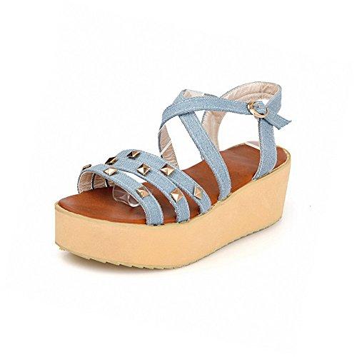 AllhqFashion Women's Buckle Open Toe Kitten-Heels Denim Solid Platforms & Wedges Blue