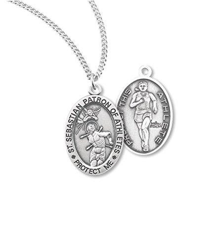 Price comparison product image + BERTOF Women's TRACK & Field SAINT SEBASTIAN 100% STERLING SILVER Patron Saint of Athletes Medal With Copyrighted Paul Herbert Blessing ZOLA Series