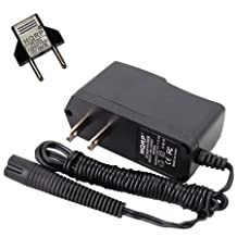 HQRP AC Adapter / Power Cord for Braun Series 3 Model 320s-4, 330s-4 Type 5415 Razor / Shaver Power Supply Charger + Euro Plug Adapter