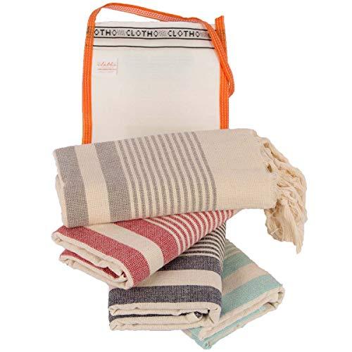 Turkish Hand Towel Set of 4 20 x 40 inches 100% Cotton Peshtemal (Natural Variety)