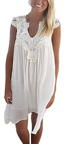 Women V Neck Sleeveless Summer Chiffon Lace Casual Loose A-line Sundress Beach dress Top (M, White)
