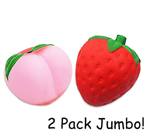 LimBridge Jumbo Squishies Strawberry & Peach Squishy Fidget Toys Smell Good Slow Rising 2 Pack for Kids Girls