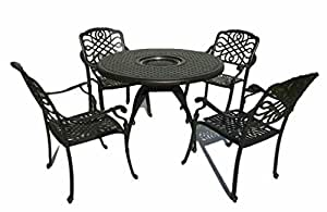5 piece Cast Aluminum Dining Table Set with in Table Grill