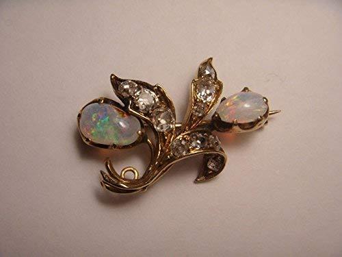 Beautiful Antique 14K Yellow Gold Opal Rose Cut Diamond Pendant Brooch Pin