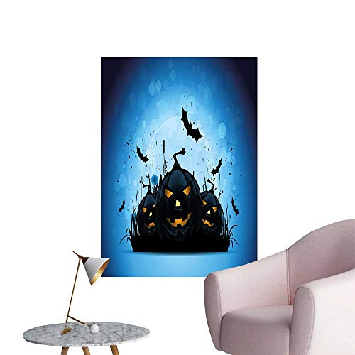 Camerofn Halloween Art Decor 3D Wall Mural Wallpaper Stickers Scary Pumpkins in Grass with Bats Full Moon Traditional Composition Removable Kitchen Black Yellow Sky Blue W20 x H28 -