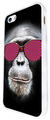 424 - Monkey Hypnotise Glasses Chimp Design iphone SE - 2016 Coque Fashion Trend Case Coque Protection Cover plastique et métal - Blanc