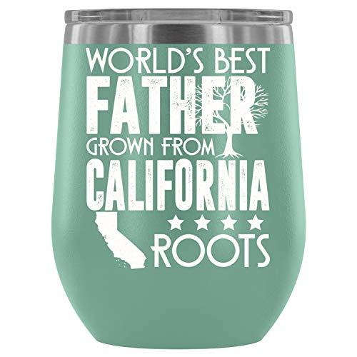 (Father Steel Stemless Wine Glass Tumbler, 12 oz, California Wine Tumbler Cup, Tumbler Cup with Lid for Wine, Coffee, Drinks (12oz - Teal))