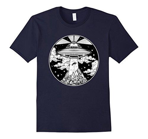 Tattoo T-shirt Tee - Mens Alien Space Tattoo TShirt - UFO 51 Area Roswell Believe Tee Medium Navy