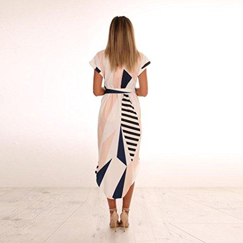 29bef172696a ... Damen Geometrische Kleider,Frauen Casual Kurzarm V-Ausschnitt  Bedrucktes Maxi-Kleid mit Gürtel