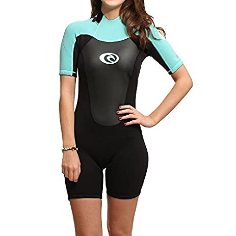 2017 Rip Curl Omega Ladies 2mm Back Zip Spring Shorty BLACK / Turquoise  WSP4CW by Rip