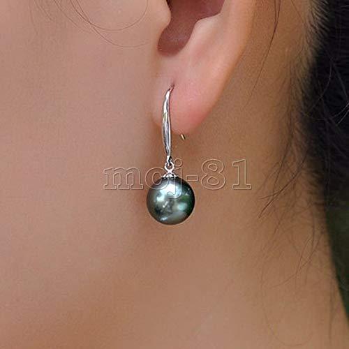 FidgetFidget 10mm Genuine Black South Sea Shell Pearl Silver Hook Drop Dangle Earrings AAA -