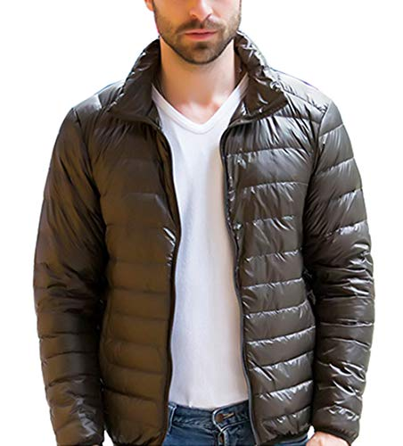 Femaroly Men's Classic Lightweight Down Jacket Packable Long Sleeve Winter Warm Coat Army Green XL -