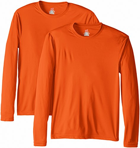 Hanes Men's Long Sleeve Cool Dri T-Shirt UPF 50+, Medium, 2 Pack ,Safety Orange