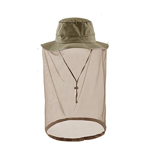 Mens Sun Hat Head net Outdoor Sun Protection Hats with Head Net Dark -