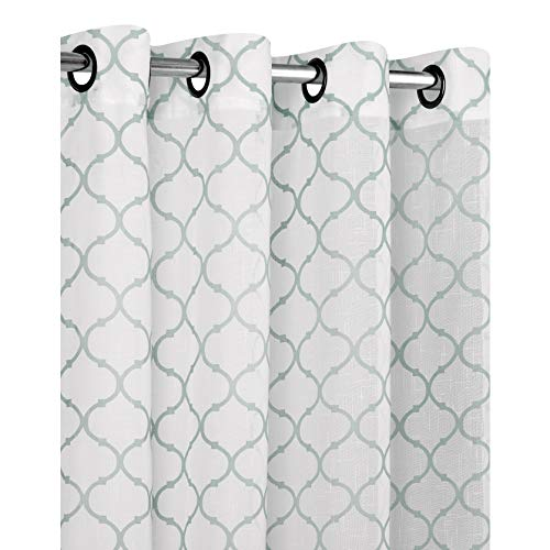 gan Premium Semi Sheer Flocked Lattice Grommet Curtains - Assorted Colors (Aqua) ()