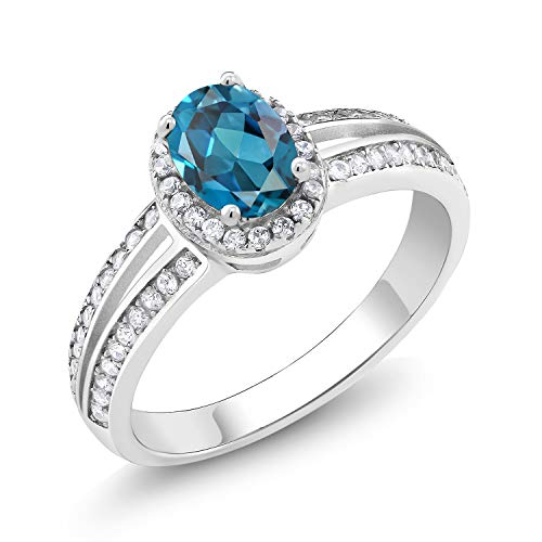 Gem Stone King 1.10 Ct Oval London Blue Topaz Gemstone Birthstone 925 Sterling Silver Ring Available 5,6,7,8,9