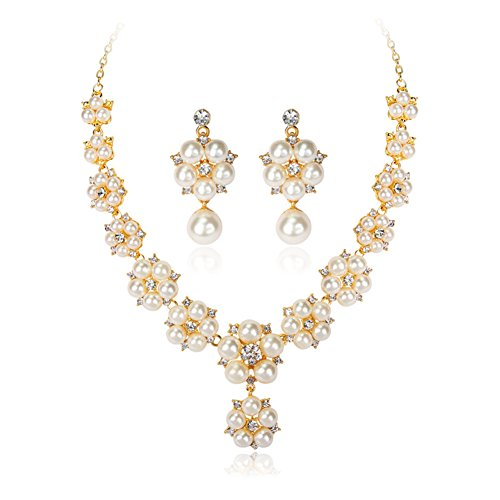 YiYi Operation Gold Plated Jewelry Sets White Faux Pearl Rhinestone Necklace Earrings Sets For (Faux Gold Jewelry Set)