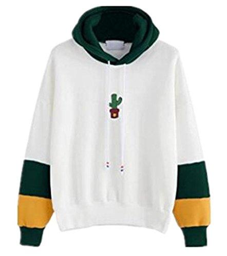 Elegante Maglia Sweater Green Morbidi Pullover Splice Casuale Sport Con Hoodie Donna Camicia Slim Kapuzenpullover Cappuccio Gogofuture Felpe Sweatshirt Stampato Colore 1qYTU8x