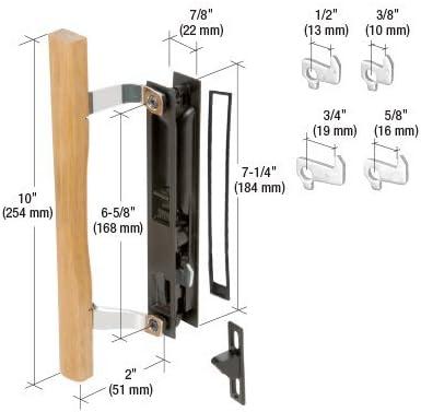 CRL madera/mango de montaje empotrado para puerta corredera de cristal negro Set 6 – 5/8