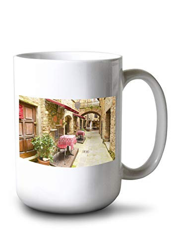 Lantern Press Tuscany, Italy - Alley Restaurant Seating - Photography A-92481 (15oz White Ceramic Mug)