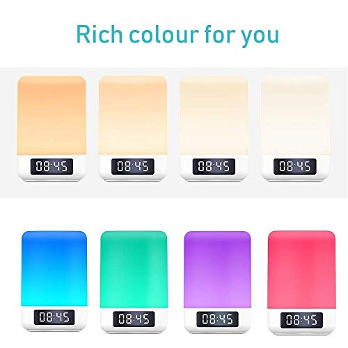 Elecstars Night Light Bluetooth Speaker, Touch Sensor Table Lamp, Dimmable Warm White LED Night Light, Alarm Clock, Color Changing RGB, Best Gift for Kids Teens Children and Friend