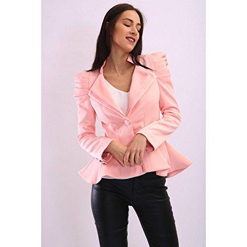 Frill Button (Fashion Wardrobe Womens Ladies Kate Kim Puff Shoulder Blazer Frill Button Jacket Tailored Coat [Nude Peach, UK 8])