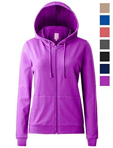 Regna X Women's Long Sleeve Comfy Loose Cotton Full Zip Hoodie Purple (Thermal Full Zip Jersey)