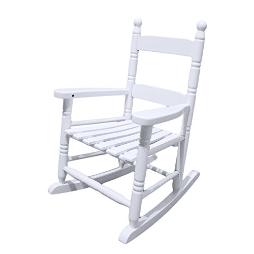Coismo White Solid Wood Rocking Chair Porch Rocker for Kid with Cushion