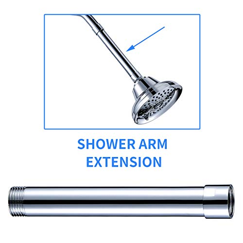 Hoooh All Brass Shower Arm Extension, 6-Inch Shower Head Extender, Lowers Existing Shower Head/Handheld Shower Unit, Chrome, Y200-CH