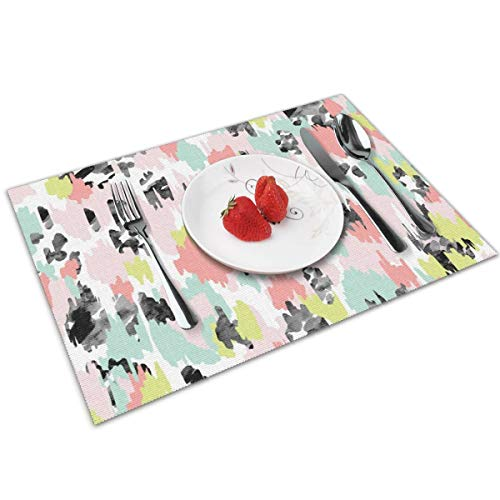 MNBVC Desktop Wallpaper Pinterest 16 Placemats Set of 4 for Dining Table Washable Woven Vinyl Placemat Non-Slip Heat Resistant Kitchen Table Mats Easy to Clean -