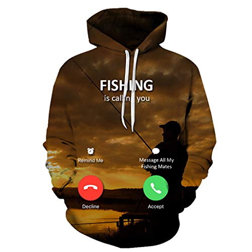 wuliLINL Hooded Sweatshirt Men and Women Incoming Call Hoodie Unisex 3D Printed Pullover Long Sleeve Tops Blouse(Brown, XXXL) ()
