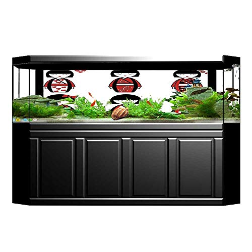 JiahongPan Fish Tank Backdrop Static Cling Unique Geisha Dolls in Folkloric Costumes Outfits and Hair PVC Decoration Paper Cling Decals Sticker L23.6 x H19.6 ()