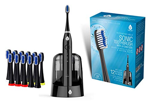 Best Pursonic S750 Sonic SmartSeries Electronic Power Rechargeable Battery Toothbrush with UV Sanitizing Function, Black, Includes 12 Brush Heads