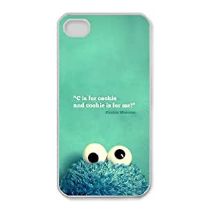 cookie and cookie is for me. Cookie Monster - Black plastic case / Inspirational and motivational life quotes ,TPU Phone case for iphone4 4s,white