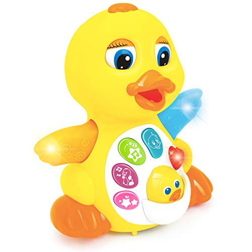 Zooawa Musical Duck Toy, Singing Dancing Walking Light Up and Sounds Educational Baby Toy Quacking Duck, Heavy Duty & Cute Design for Toddler Infants Girl Boy – Yellow