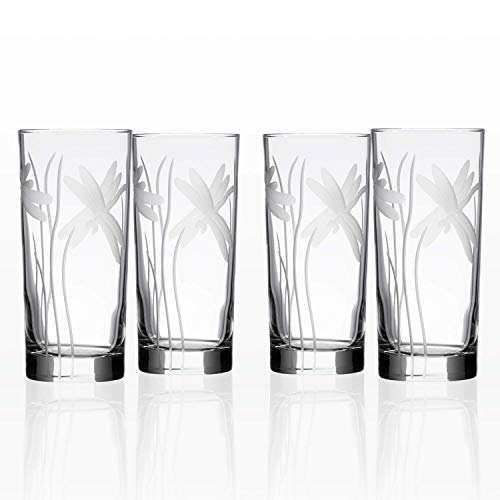 Rolf Glass Dragonfly Highball Glass 15 ounce - Set of 4 Cooler Glasses - Lead Free Crystal Glass - Etched Drinking Glass with Heavy Base - Made in the USA from Rolf Glass