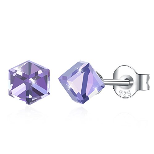 Purple Swarovski Crystal Cube - Vanessa 925 Sterling Silver Stud Earrings 4mm Colorful Aurora Cube Crystals from Swarovski Charm Jewelry Gifts (Purple)