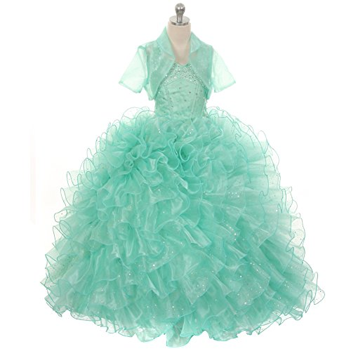 Rain Kids Little Girls Mint Sequin Sparkly Ruffle Bolero Pageant Dress 6 by The Rain Kids