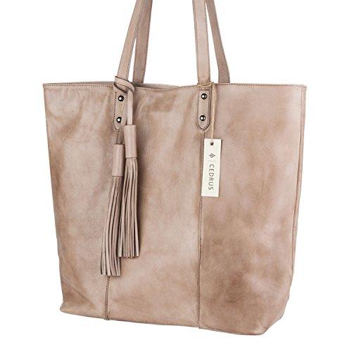 Tan Large Leather (The Traveler Tote by Cedrus | Top-Grain Leather Large Tote bag, Shoulder Bag for Women in Mushroom Tan (CW31001-TAN))