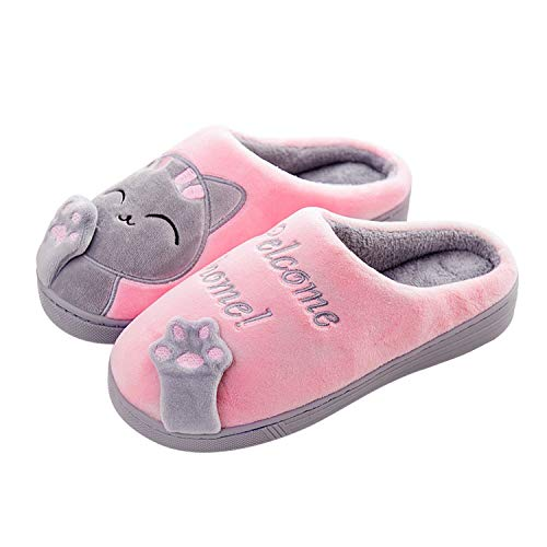 Home Cotton Slippers Indoor Winter Bag with Lovers Cute Cartoon cat Lady Plus Velvet Slip-Proof Soft Bottom Cotton Slippers,Pink Woman,6.5