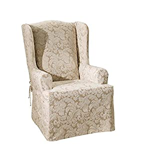 SURE FIT Scroll Damask Box Cushion Wing Chair One Piece Slipcover, Relaxed Fit, Cotton/Polyester, Machine Washable…