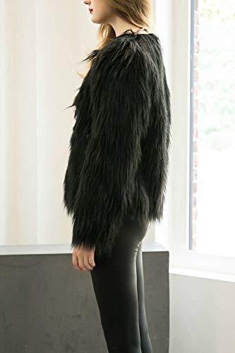 Moda Invernali Manica Monocromo Lunga Cappotto Giaccone Pelliccia Cute Elegante Giacca Donna Party Nero Imbottita Di Chic Lanoso Unico Giubotto q1wt8BgX