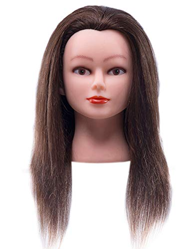 """Cosmetology Mannequin Head with 100% Real Human Hair and Adjustable Stand 22-24"""" for Braiding Hair Styling Training Hairart Barber Hairdressing Fashion Salon Display (Brown)"""