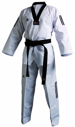 Adidas Taekwondoanzug, Adi Club 3 stripes, schwarzes Revers