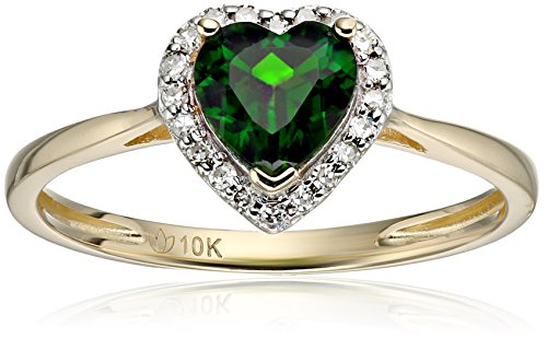 10k Yellow Gold Chrome Diopside and Diamond Solitaire Heart Halo Engagement Ring (1/10cttw, H-I Color, I1-I2 Clarity), Size 7