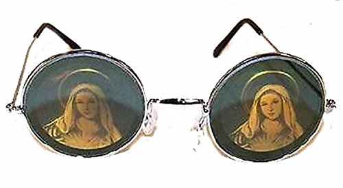 Round Virgin Mary Guadalupe Religious Hologram 3d Mirror - Sunglasses Hologram