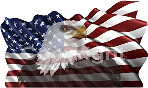 (avgrafx Eagle American Flag Color Decal 5 Inch 2 Pack )